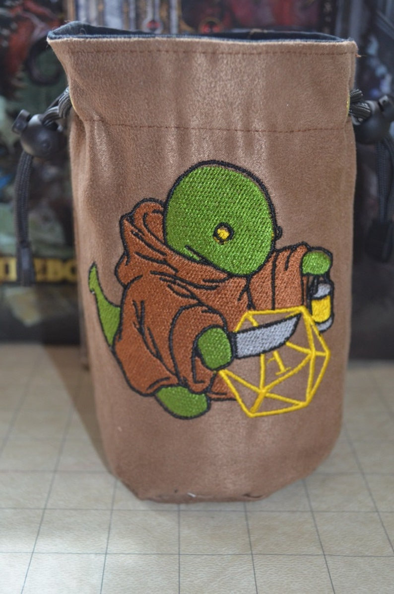 Dice Bag tonberry final fantasy Embroidery on Light Brown image 0