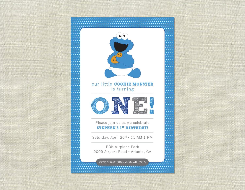 Cookie Monster Sesame Street Baby Birthday Invitation / Blue | Etsy