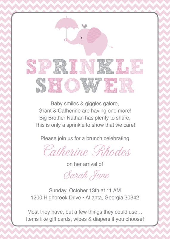 Pink elephant baby sprinkle shower invitation pink grey girl etsy image 0 filmwisefo