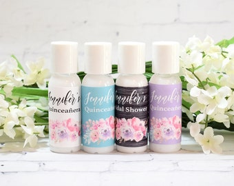 personalized bridal shower favor cosmetic favors vintage hand sanitizers favors unique party favor hand gel favor ideas lotion 12ct