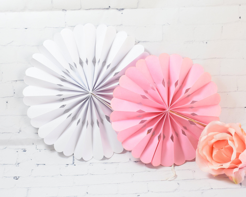 Rosette Paper Fans 24ct Wedding Hand Fan Bridal Shower | Etsy