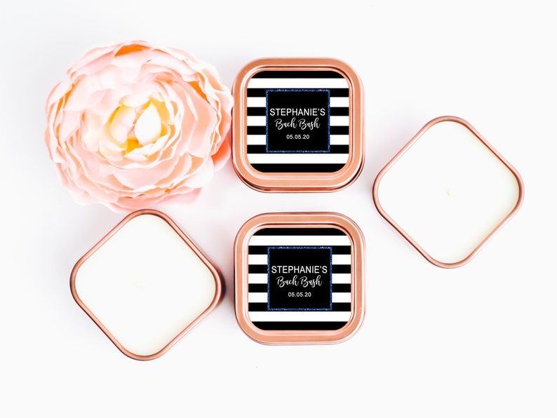 Baby Shower Candle Favors 12ct Black Stripe Candle Labels Mommy Shower Favors Rose Gold Square Candle Personalized Bulk Candle Favors