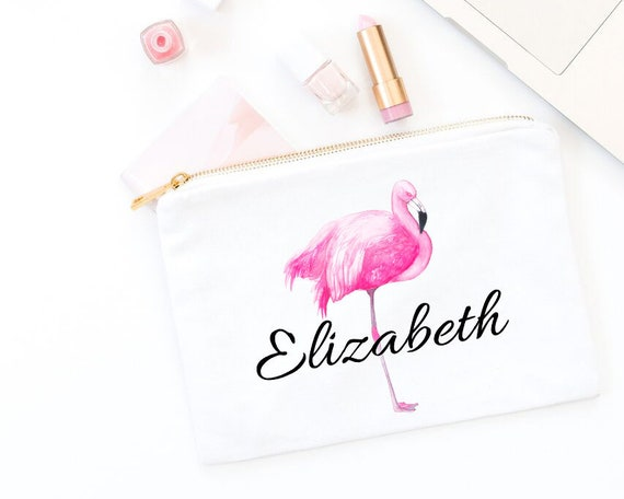 d9498711a Flamingo Canvas Bag - Tropical Canvas Tote Bag - Personalized Cosmetic Bag  - Brides Maid Gift - Maid of Honor Gift - White Canvas Bag