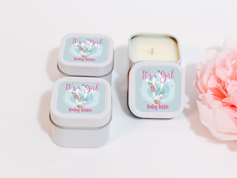 Personalized Candle Favors  Bulk Soy Candles  Baby Girl Welcome Baby Candle Favors 12ct Baby Shower Candles Couples Shower Candle Favors