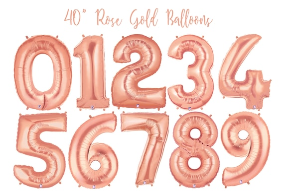 Rose Gold Number Balloon - 21st Birthday - Foil Number