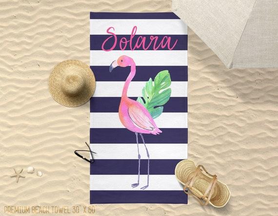 Beach Towel Customized Beach Towel Bridesmaid Gift Summer Personalized Flamingo Towel Birthday Gift Bathroom Towel Pool Towel