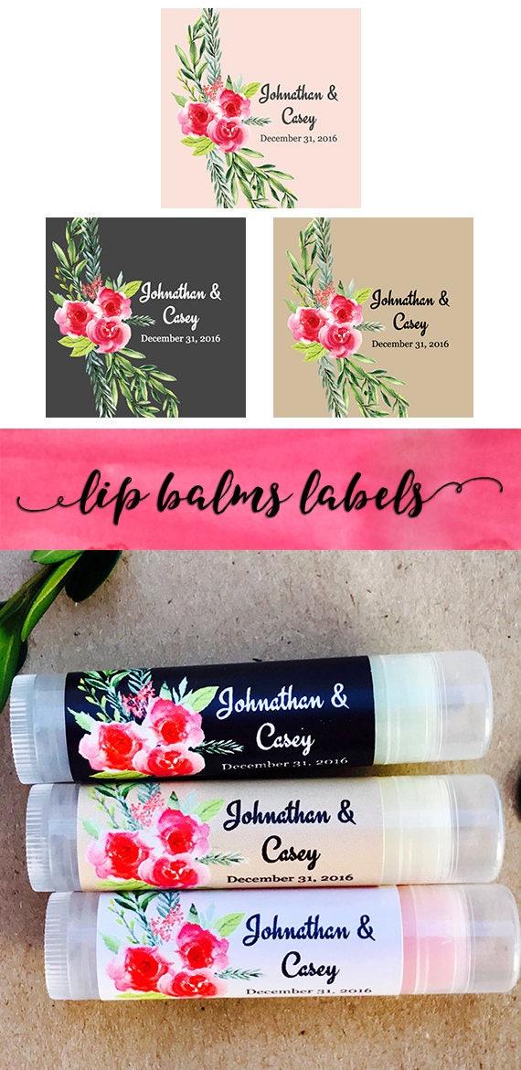 Pink Floral Chapstick Label Favors for Bridal Shower Bridal Shower Favors Chapstick with Personalized Labels