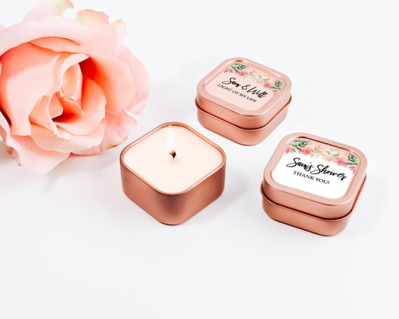 Rose Gold Wedding Favors 12ct Custom Candle Wedding Favors