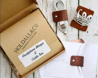 Personalised Leather Cable And Headphone Organisers - made in England