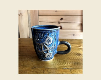 Bicycle mug  - Handmade and Hand carved  - Coffee mug - Tea cup - One of a kind