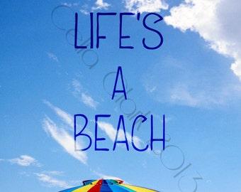 5x7 or 8x10 Art Print // Beach Umbrella Against Blue Sky // Life's A Beach // Original Photographic Print