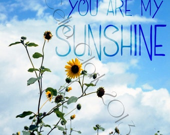 5x7 or 8x10 Art Print // Sunflowers against Blue Sky // You Are My Sunshine // Original Photographic Print