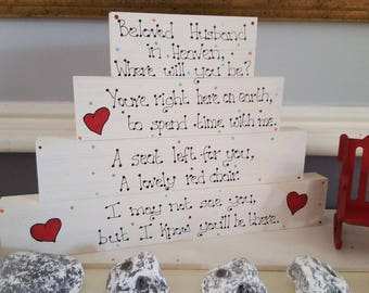 Memory blocks-empty chair-heaven-birthday-easter-in memory of loved one-mothers day-easter-fathers day-husband memory-christmas
