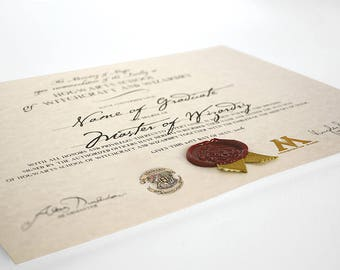 Wizarding School Diploma, Personalized | Made to Order