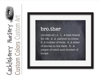 Brother Sign, Brother Wall Art, Brother Gift, Boys Room Wall Art, Inspiration, Typography Art Print, Gift From Sister,