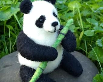 Panda Bear with Bamboo - Needle Felted