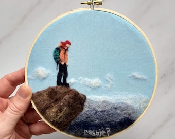 Hiker Needle Felt Wall Art