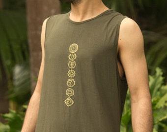 Chakra Hatha Singlet (Green) - Festival Clothing Yoga Cut Indie Boho Gypsy Bohemian Men Women Shirt Sacred Geometry Chakra Singlet Rave of2OaLg