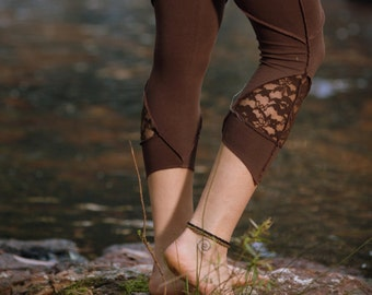 Layla Leggings (Brown) - Festival Clothing Hippie Stylish Stretchy Lycra Cotton Boho Bohemian Sexy Gypsy Tights