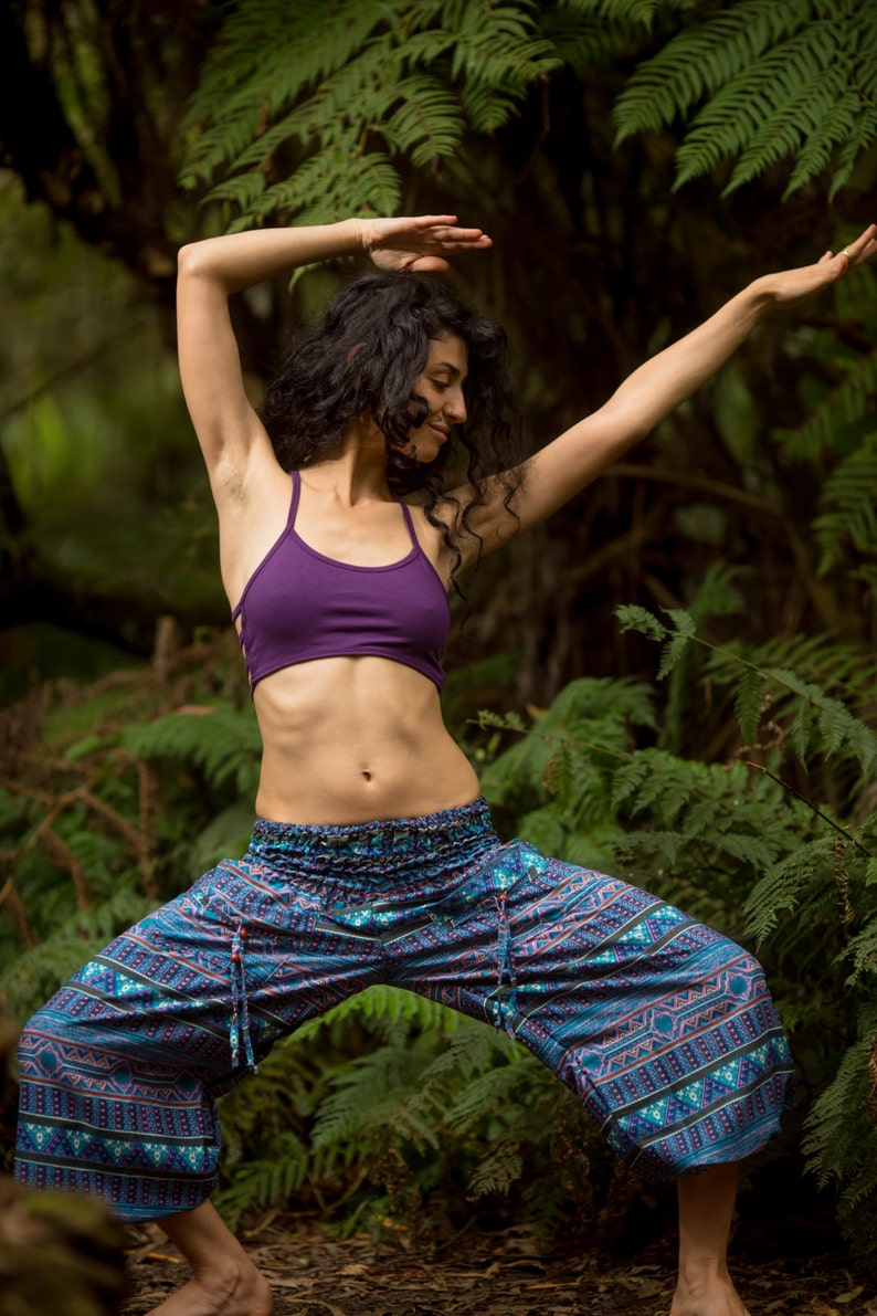 Shades of Blue and Purple Tribal Yoga Ali Baba Pants Festival Clothing Yoga Hippie Boho Bohemian Gypsy Pants Tribal Yoga Pants