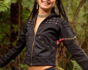 Pantha Sweater (Black) - Festival Clothing Gypsy Hoodie Bohemian Steampunk Black Punk Jacket Big Hood Stylish Zip Sweater Winter Boho