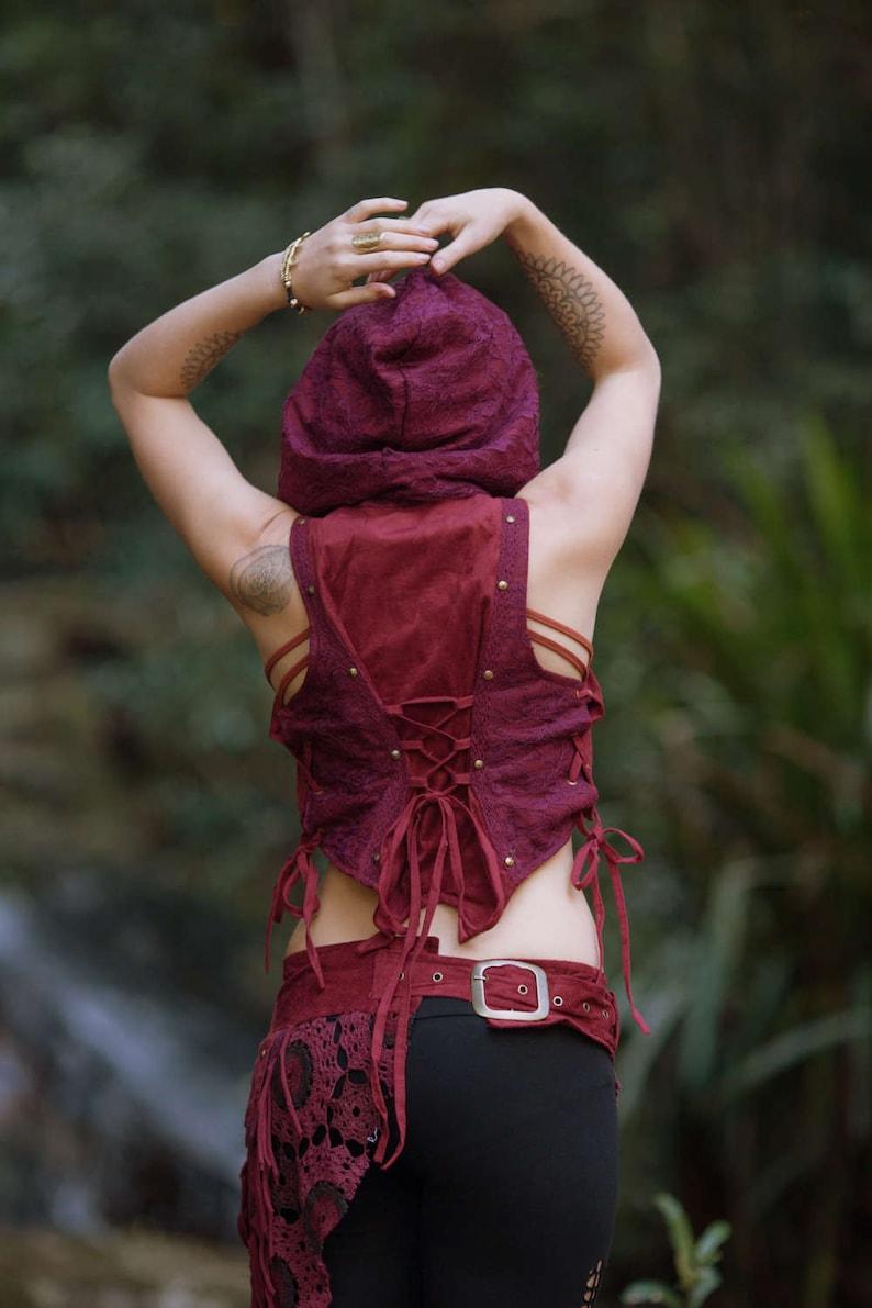 Ga\u00efa Vest Festival Clothing Gypsy Festival Boho Style Corset Back Crop Burlesque Bohemian Steampunk Top Vegan Tribal Medieval Red Wine