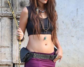 Gypsy Cropped Top (Black) - Festival Clothing Cropped Singlet, Boho Handmade Top, Festival Short Top, Gypsy Bohemian