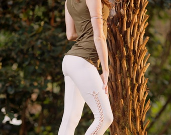 Bohemian Leggings (Creamy White) - Festival Clothing Bohemian Full Length Leggings Yoga Sexy Fairy Vintage Gypsy Stretchy Cotton Boho