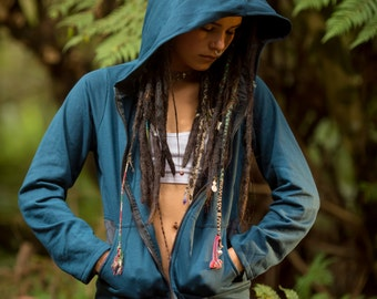 Bohemia Sweater (Blue) - Festival Clothing Bohemian Gypsy Hoodie Festival Tribal Hippie Fairy Jumper with Big Hood and Unique Design