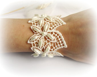 Lace cuff bracelet flowers embroidered lace bracelet ivory lace bridesmaid bracelet white lace cuff bracelet bridal floral lace gift for her
