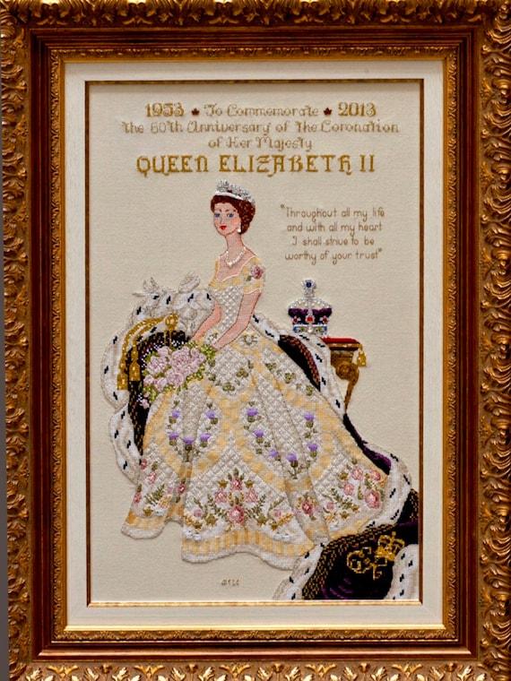 queen elizabeth ii in her coronation dress historical style etsy queen elizabeth ii in her coronation dress historical style haute couture gown counted cross stitch chart pattern instant download