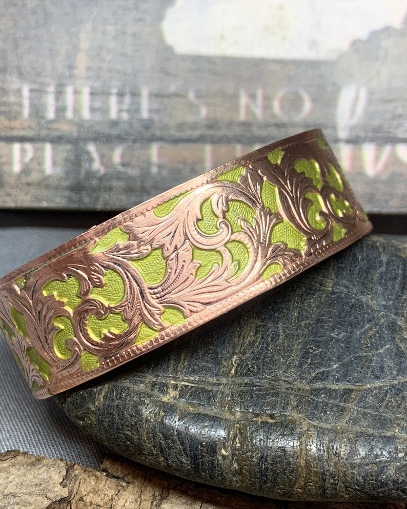 Ink Painted and Textured Copper Cuffs