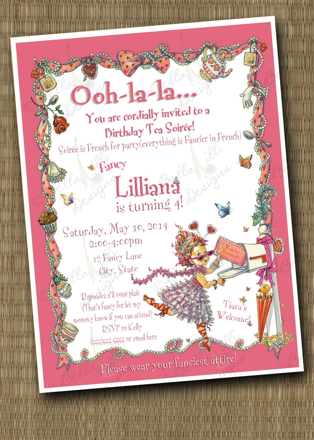 Fancy Nancy Birthday Soirée Invitation Printable File | Etsy