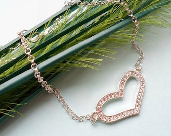 Hollow Heart Anklet - Silver Plated, Rhinestones, Extendible