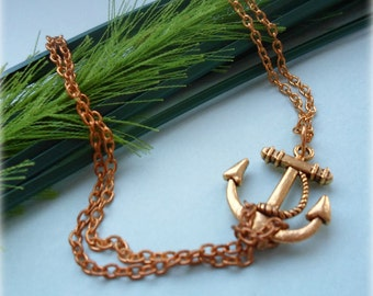 Sideways Anchor Anklet - Silver or Gold Plated, Extendible