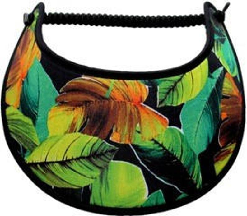 Tropical print shades of greens and browns on black TR105 Visor with fabric trimmed edges
