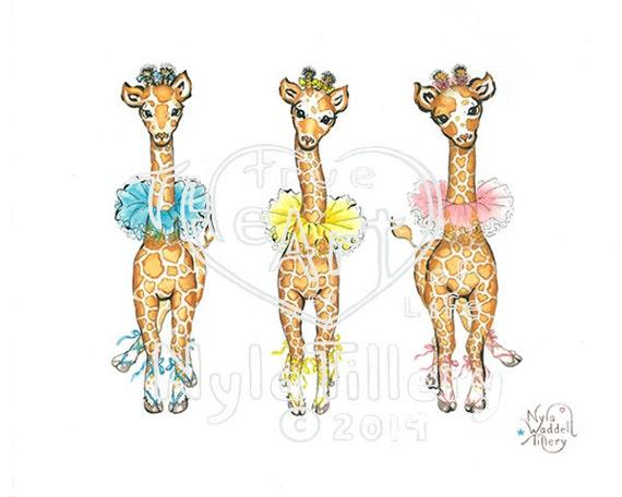 "BIRTHDAY Blank /""GIRAFFES/"" CARD NEW BABY MOTHER etc- from Original Painting"