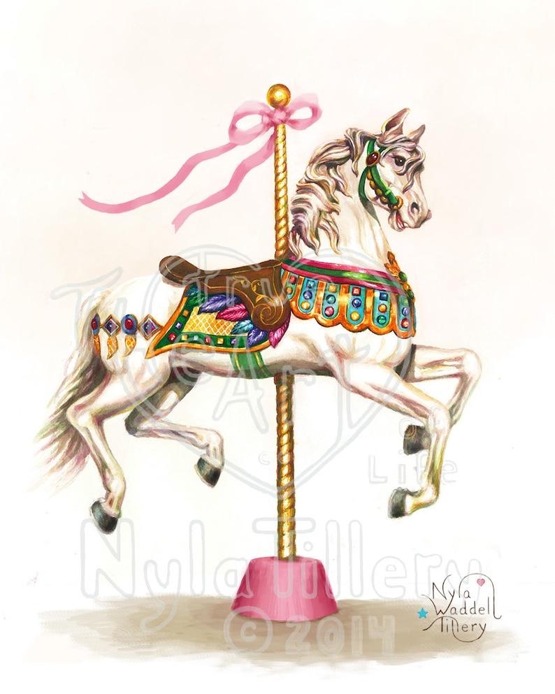 Antique Vintage Happy Art Print Carousel Horse Kids Art Decorator Art Merry Go Round Horse Pink Ribbons Blue White Gold Jewels