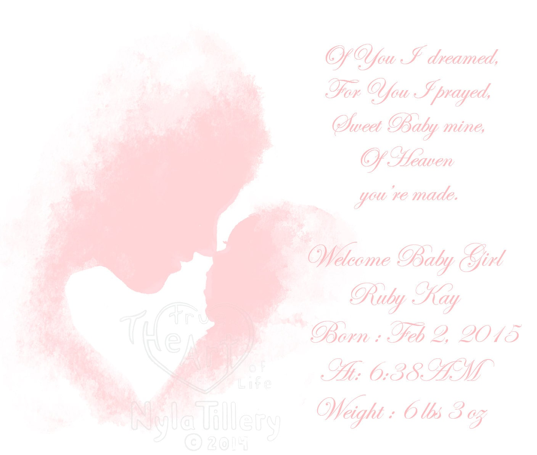 Pink Nursery Art Poem Mother and Newborn Baby Art Print Baby   Etsy