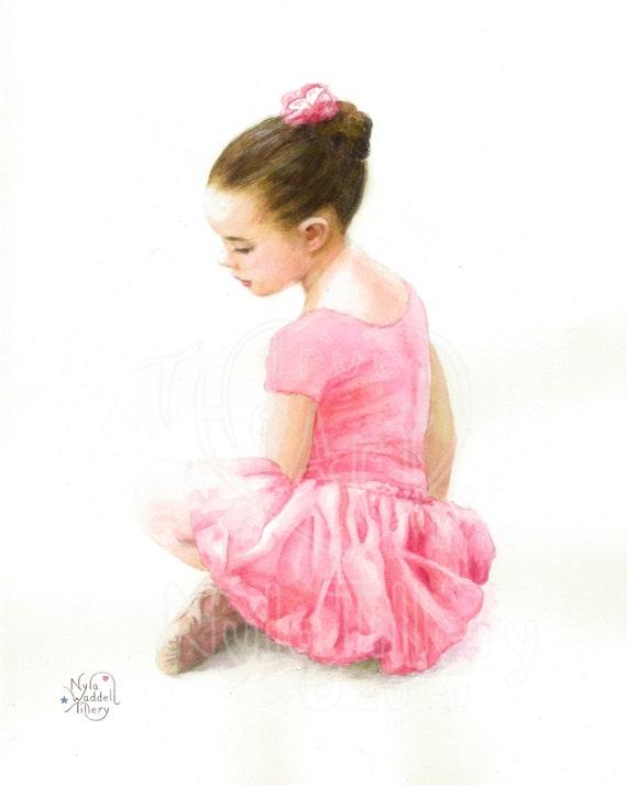 Rosa Ballerina Aquarell Druck ruhig junge Ballerina Girl Art Tanz Kunst Kinder Kinderzimmer Kunst Cottage schickes Geschenk Tutu Ballettschuhe