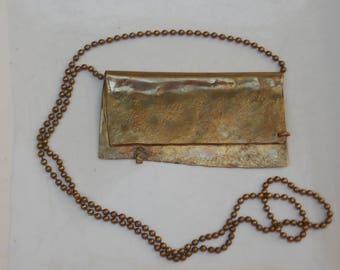 Hammered Brass Envelope Artisan Metal Work Necklace