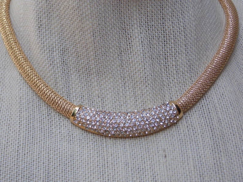 0ac9d37a97c8f Christian Dior Thick Gold Tone Choker Necklace with Rhinestone Pave