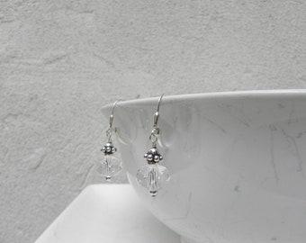 Faceted Crystal and Sterling Silver Drop Earrings