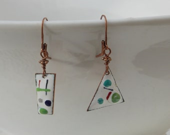 Modern Enameled Copper Dangle Earrings in White, Green and Blue, Triangle and Rectangle