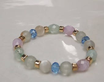 Light Pink and Blue and Green Glass Bead Bracelet