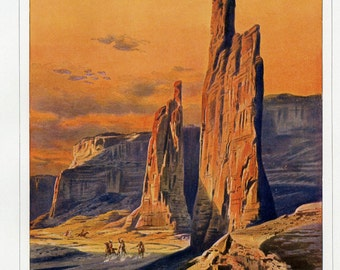The Captains at Arizona's Canyon de Chelly - Antique Lithograph C. 1900 - Wall Art - The West, Travel, Adventure, Wall Art, Christmas Gift
