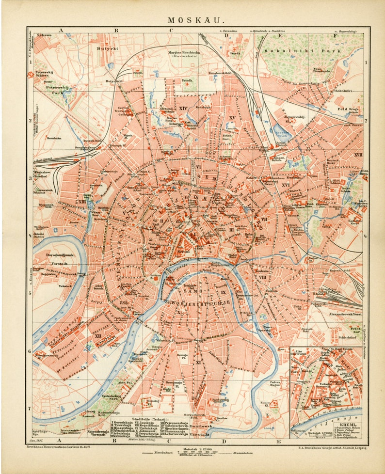 MOSCOW RUSSIA Map - Antique Map of Moscow City Plans C.1895 - Old  Cartography - Christmas Gift