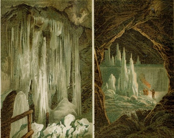 """1890 Antique Ice Cave Print  Geology  Caverns Explore Chromolithograph Custom Matted 11x14"""""""