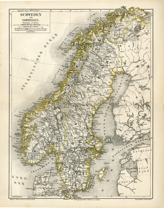 photo regarding Scandinavia Map Printable referred to as Sweden, Norway, and Finland Antique Map Print C.1876 - Aged Map Artwork - Scandinavia Cartography