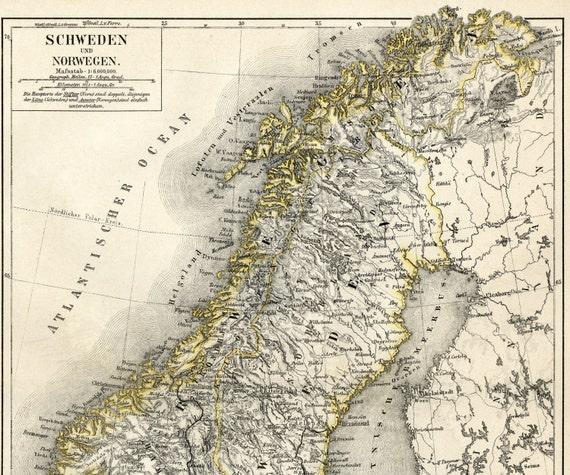 Karte Norwegen Drucken.Schweden Norwegen Und Finnland Antike Karte Drucken C 1876 Alte Karte Kunst Scandinavia Kartographie